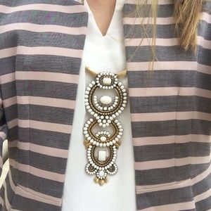 Stella & Dot White Havana Statement Long Necklace